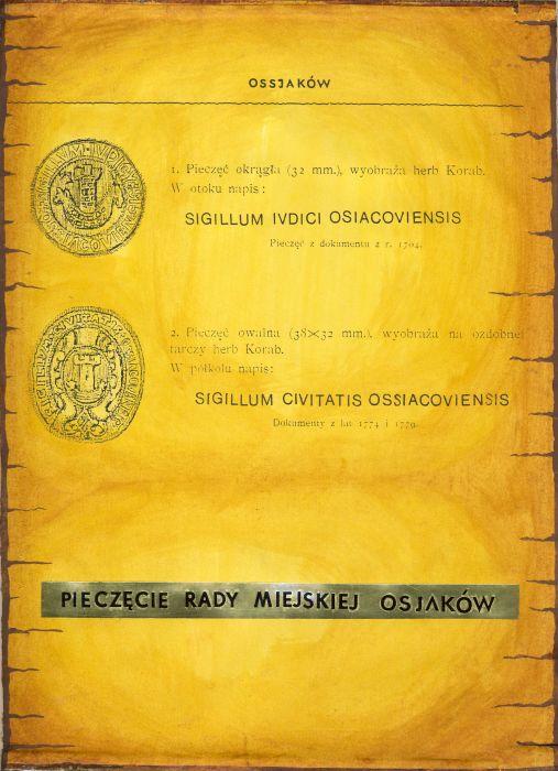 pieczęci Rady Miejskiej Osjaków przedstawiające herb Korab